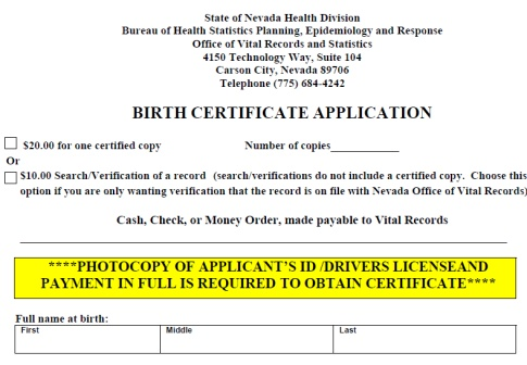 NV Birth Cert Application