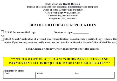 NV Birth Cert Application