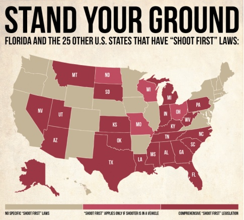 """the stand your ground law A florida man who fatally shot a father of three in an argument over parking space will not be arrested, because of the state's """"stand your ground."""