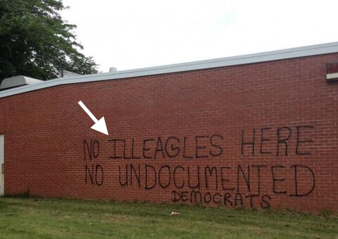 Immigration protest graffiti