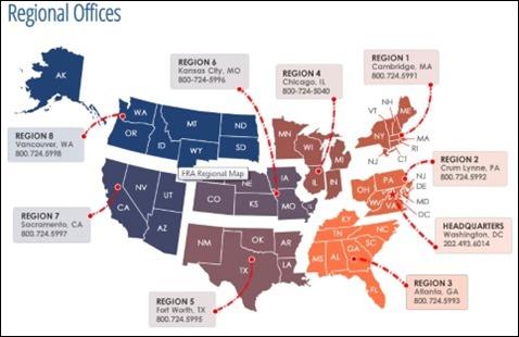 FRA regions map