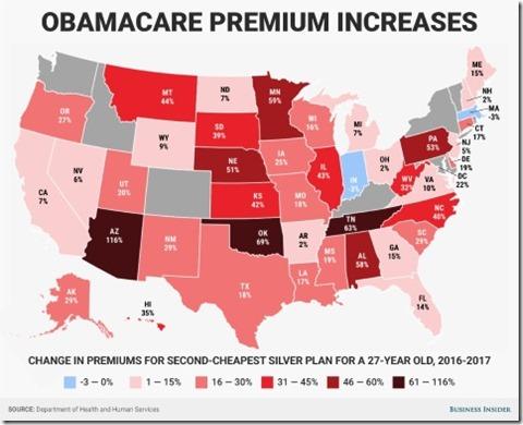 Premium Increase Map